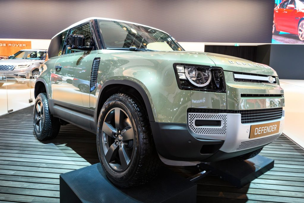 Land Rover Defender 90 off-road 4x4 vehicle on display at Brussels Expo