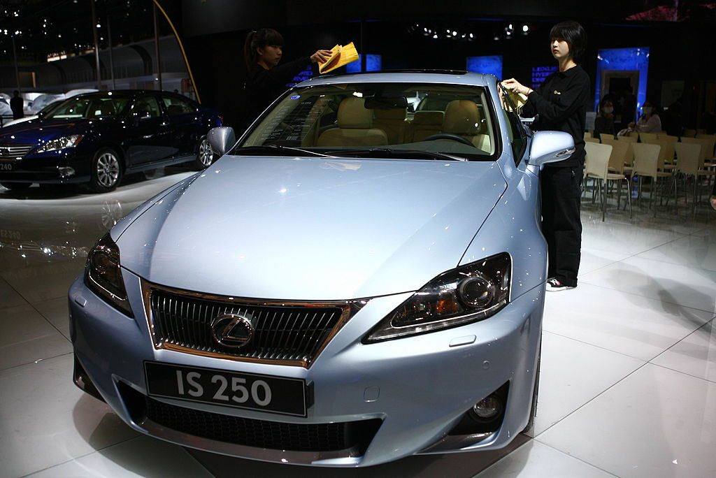 Lexus iS250 Car is displayed during the media day of the Shanghai International Automobile Industry Exhibition