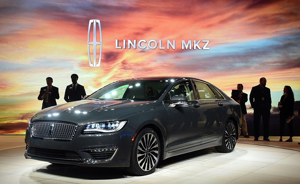 A newly unveiled 2017 Lincoln MKZ is displayed at the 2015 Los Angeles Auto Show