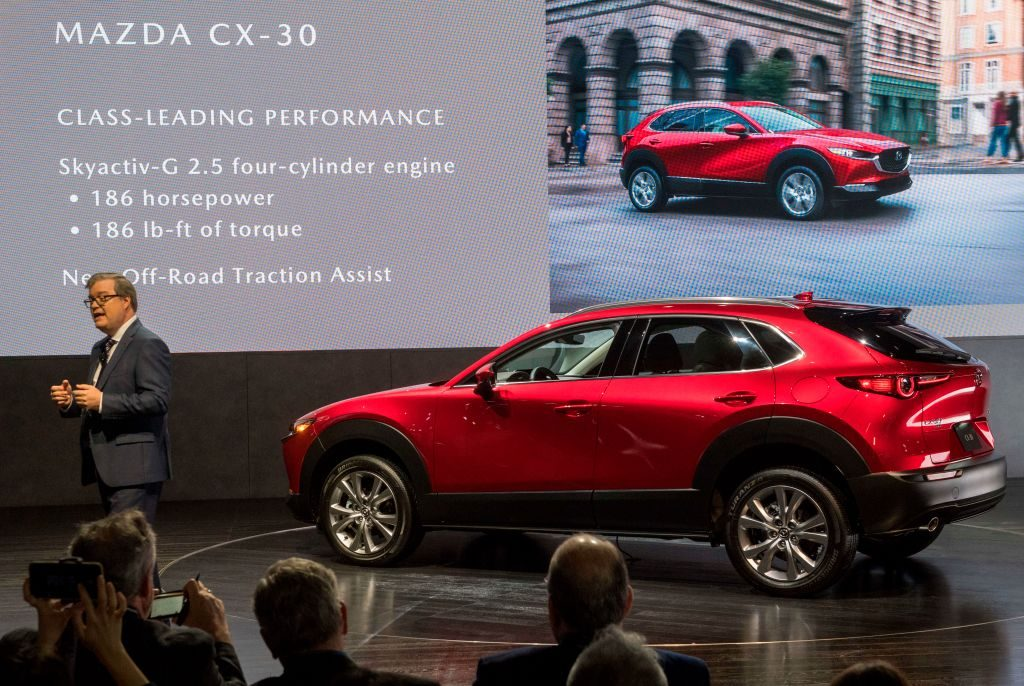 The Mazda CX-30 car on display at the 2019 Los Angeles Auto Show