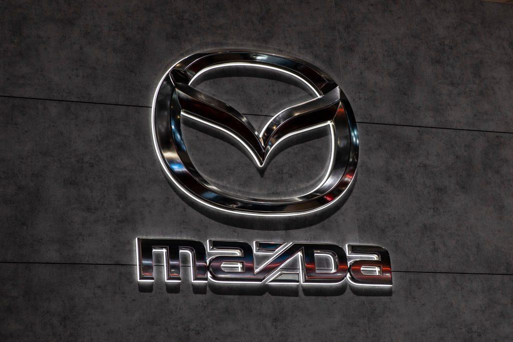 Mazda logo during the Geneva International Motor Show