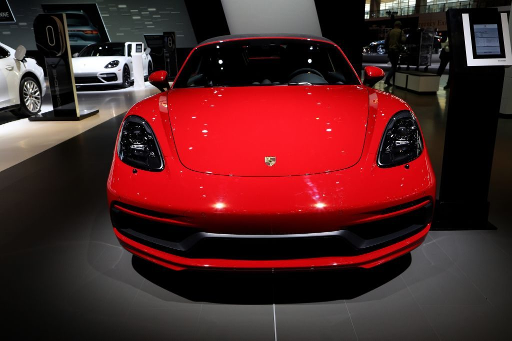 2018 Porsche 718 Boxster GTS is on display at the 110th Annual Chicago Auto Show at McCormick Place