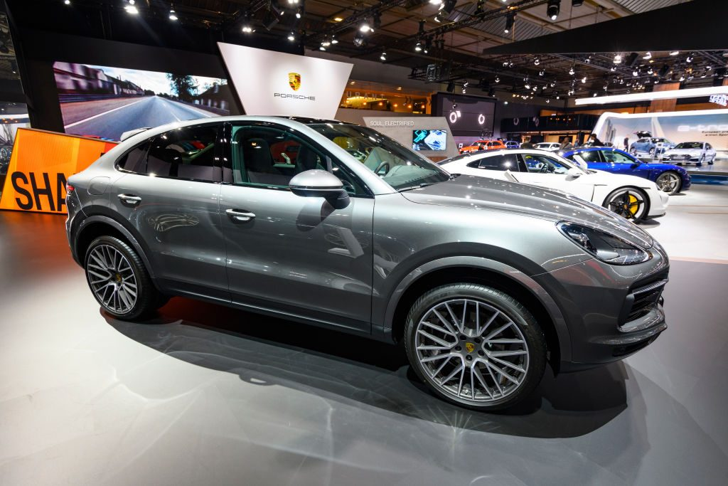 Porsche Cayenne Coupe luxury performance SUV on display at Brussels Expo