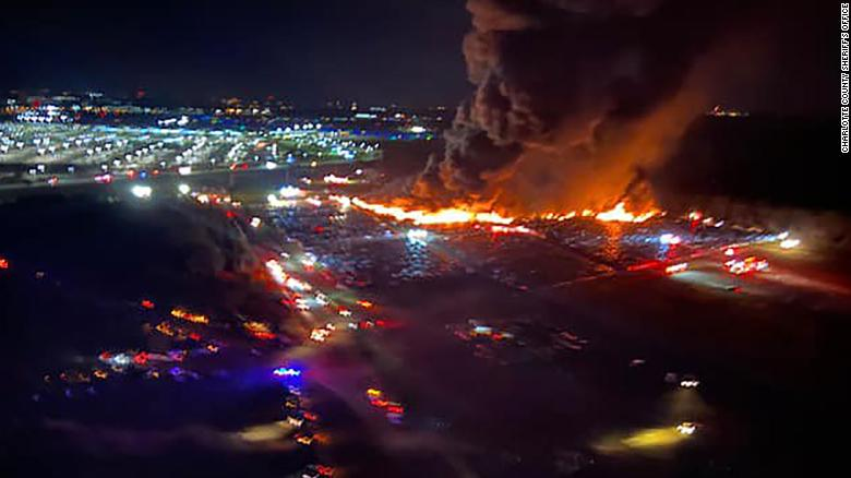 Picture of the rental car lot on fire