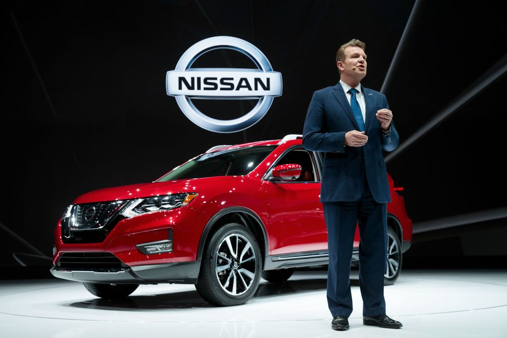 Christian Meunier, chairman of Nissan Canada, speaks about the 2018 Nissan Rogue at the New York International Auto Show