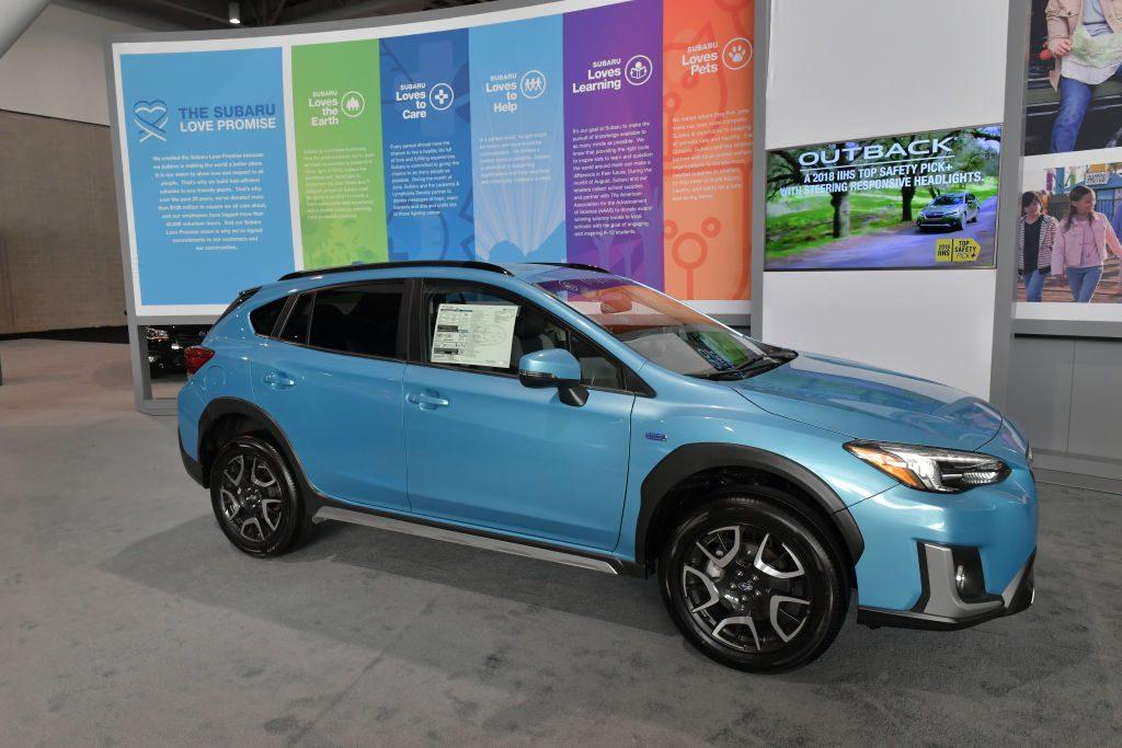 A Subaru Crosstrek on display at an auto show