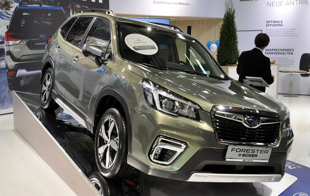 A Subaru Forester e-Boxer is seen during the Vienna Car Show press preview