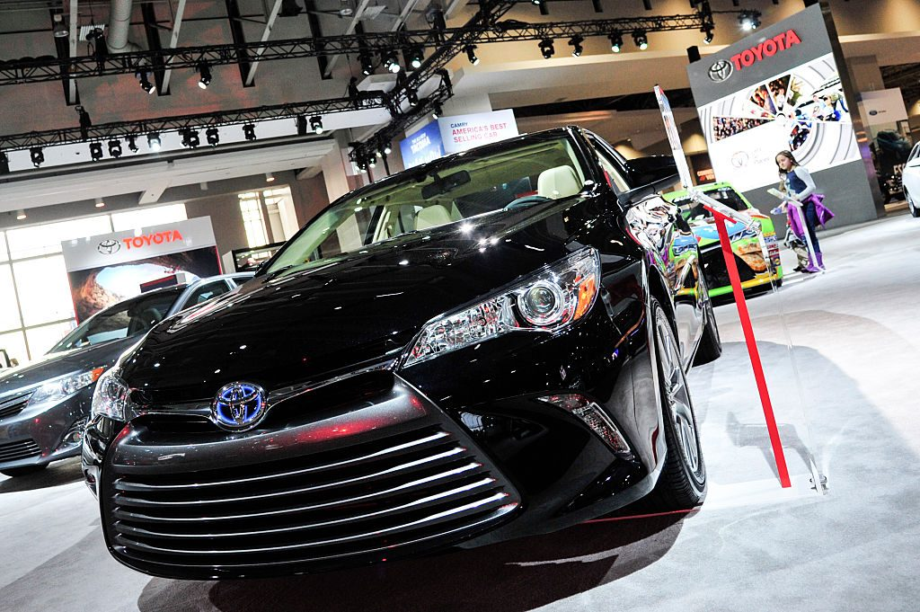 A 2016 Toyota Camry Hybrid is on display during the Washington Auto Show