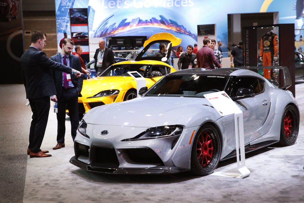 Toyota shows off their 2020 GR Supra sports car at the Chicago Auto Show