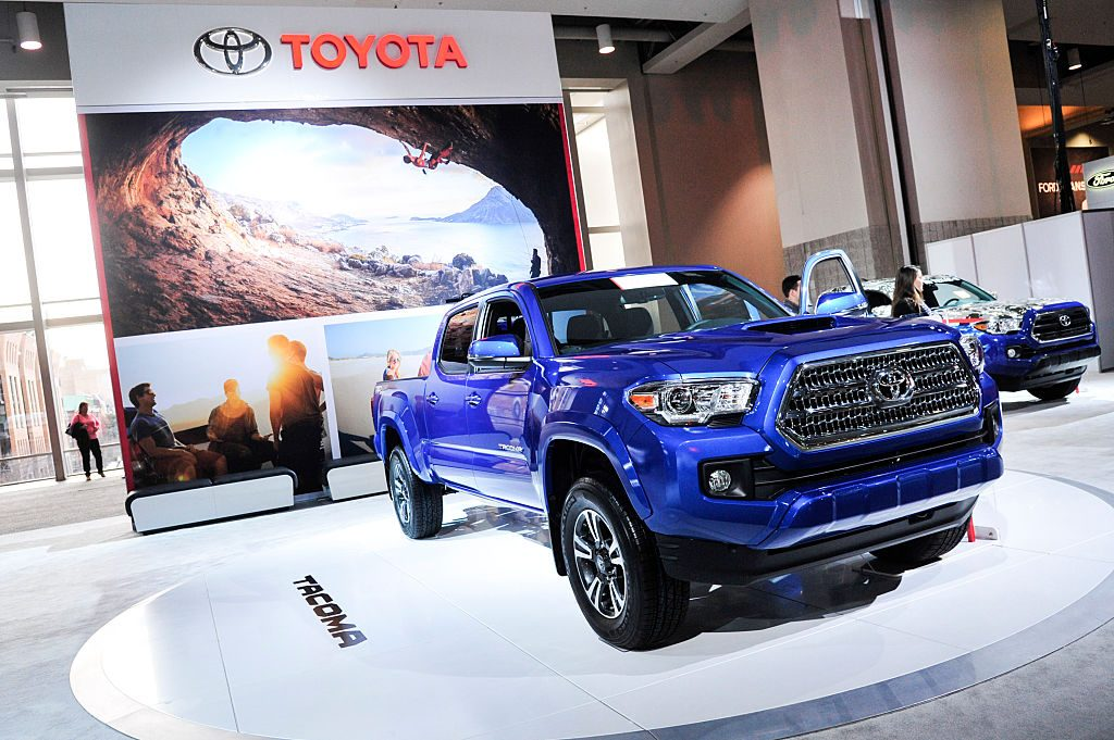 A 2016 Toyota Tacoma is on display during the Washington Auto Show