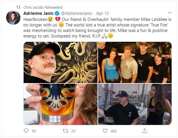 Tweet honoring the life of Mike Lavallee