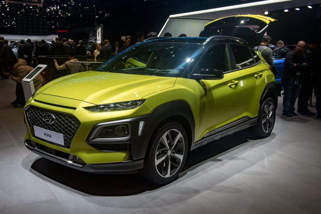Hyundai Kona is displayed at the 88th Geneva International Motor Show demonstrates Korean innovation, not that of a Japanese car company