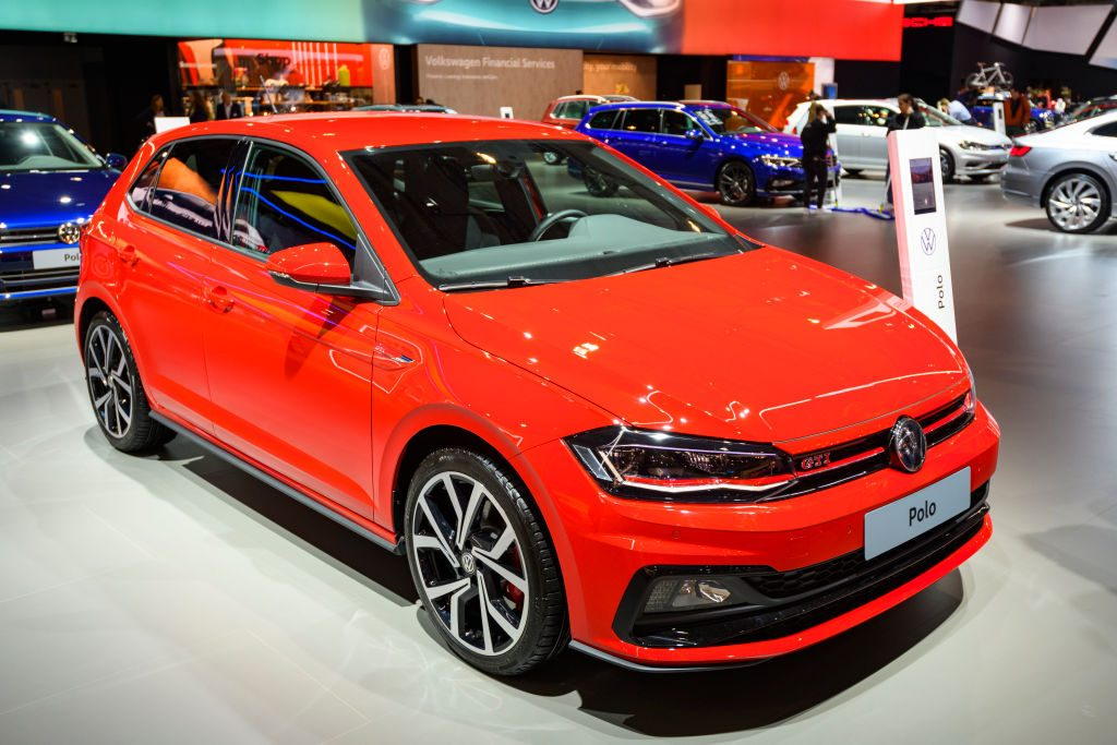 Volkswagen Polo GTI compact hatchback car on display at Brussels Expo