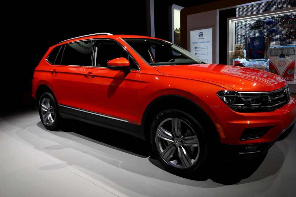 A Volkswagen Tiguan on display at an auto show