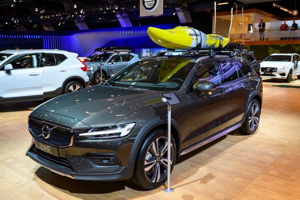 Volvo V60 Cross Country luxury plug-in hybrid estate car on display at Brussels Expo