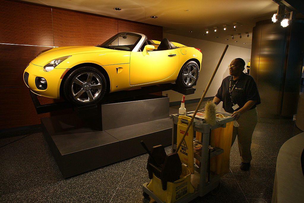 Yellow Pontiac Solstice on display
