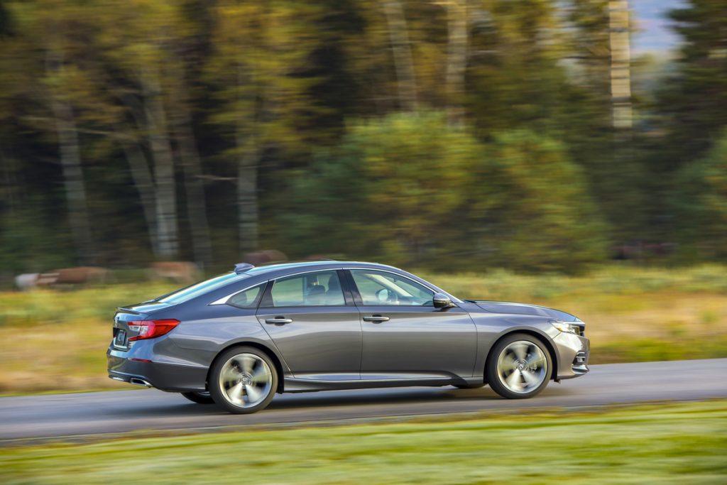 A sleek gray Honda Accord in motion