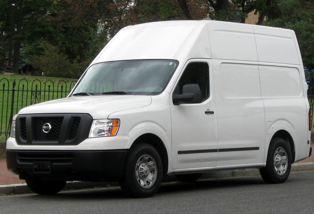 white high roof Nissan Cargo van