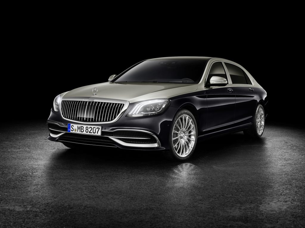 A black-and-silver 2020 Mercedes-Maybach S560