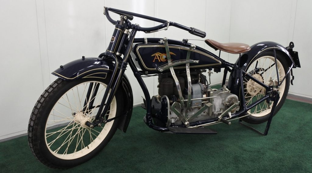Dark blue 1920 Ace Four motorcycle