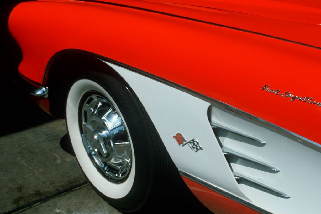 Front fender and tire of a 1957 Corvette