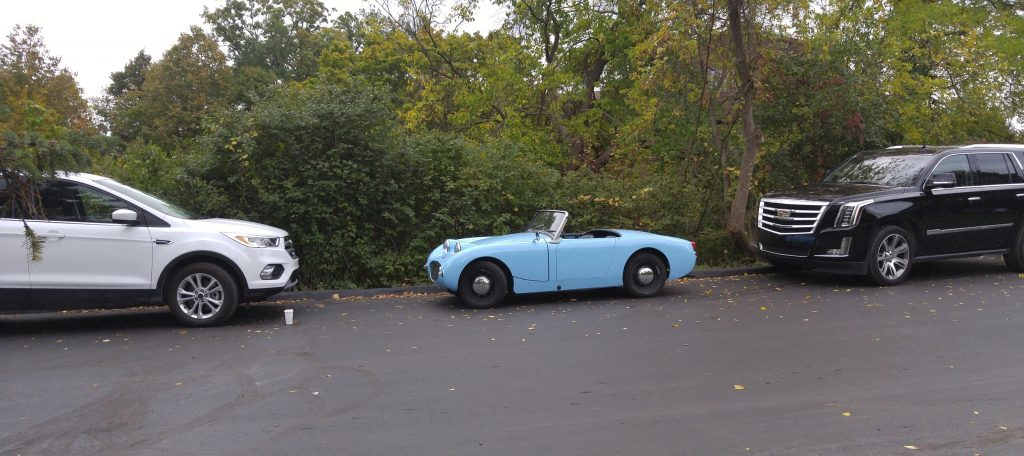 1960 Austin-Healey Sprite MkI vs Ford Escape and Cadillac Escalade