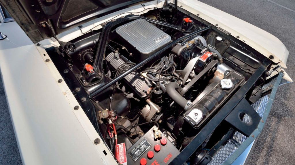 The engine bay of the 1965 Ford Shelby GT350 Mustang Paxton prototype, showing the supercharged V8