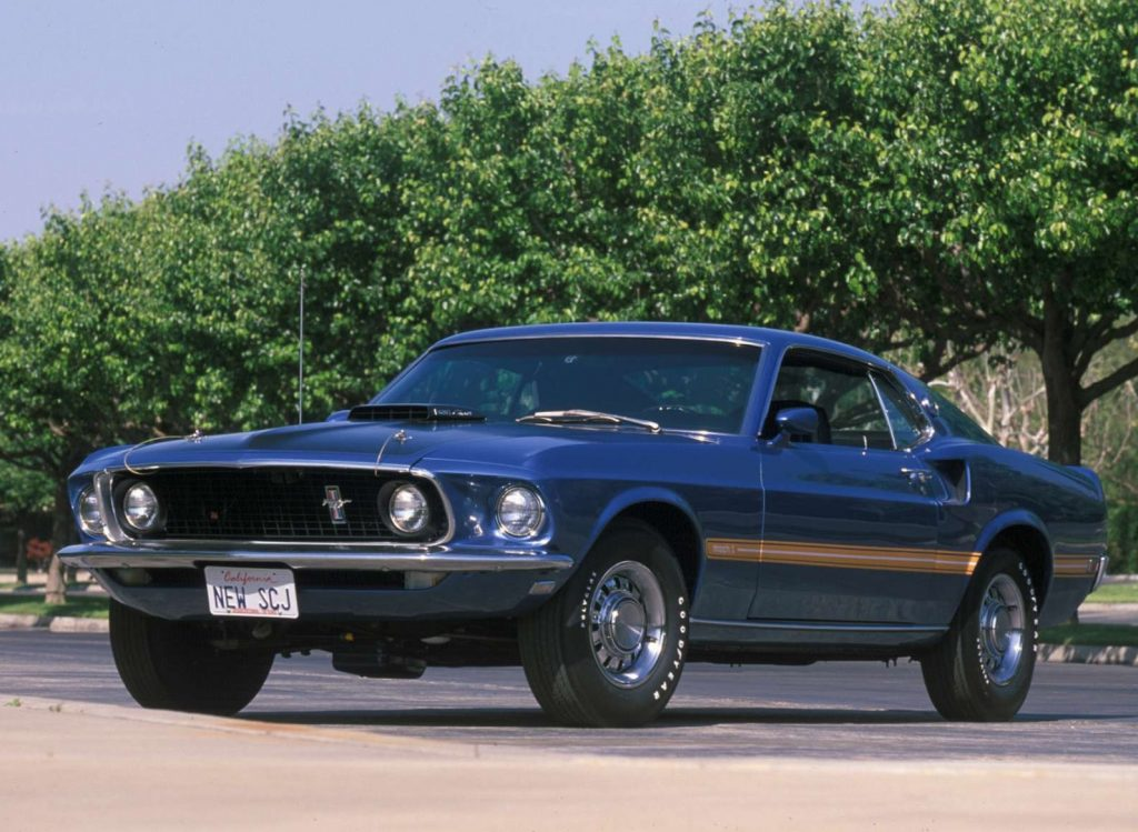 Blue-and-gold 1969 Ford Mustang Mach 1
