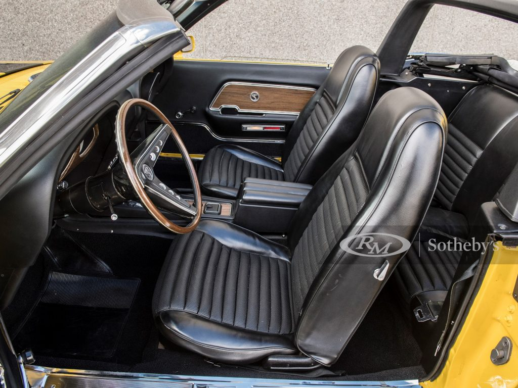 The black interior of a 1970 Shelby GT500 convertible