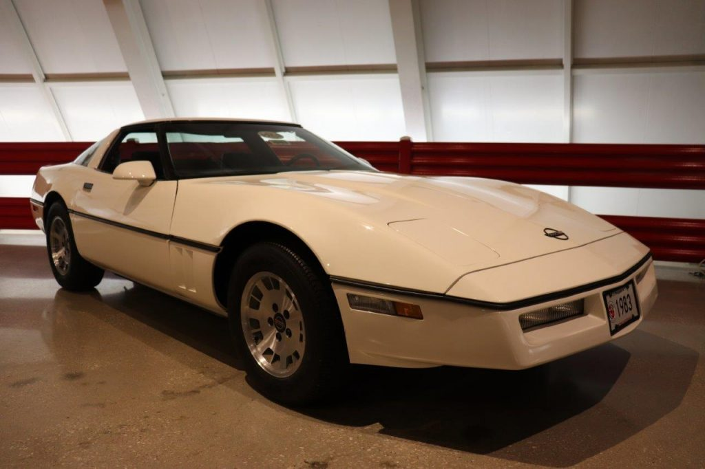 A white 1983 Corvette sits on display at the National Corvette Museum