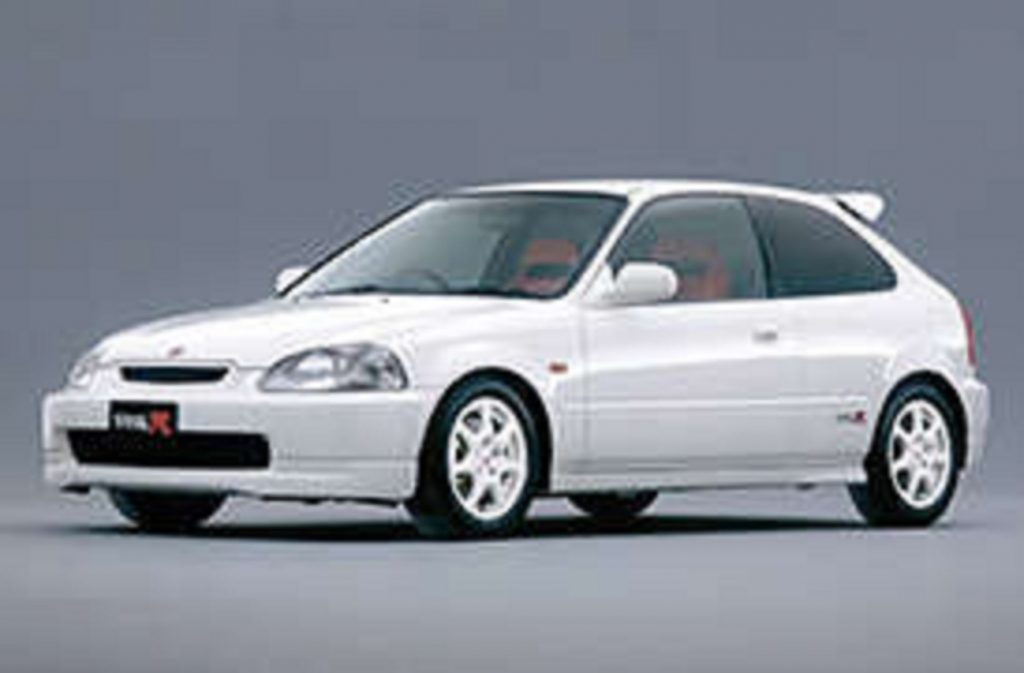 White 1997 Honda Civic Type R hatchback