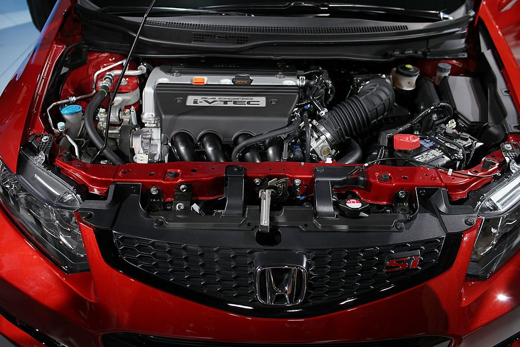 An engine on a 2012 Honda Civic opened up