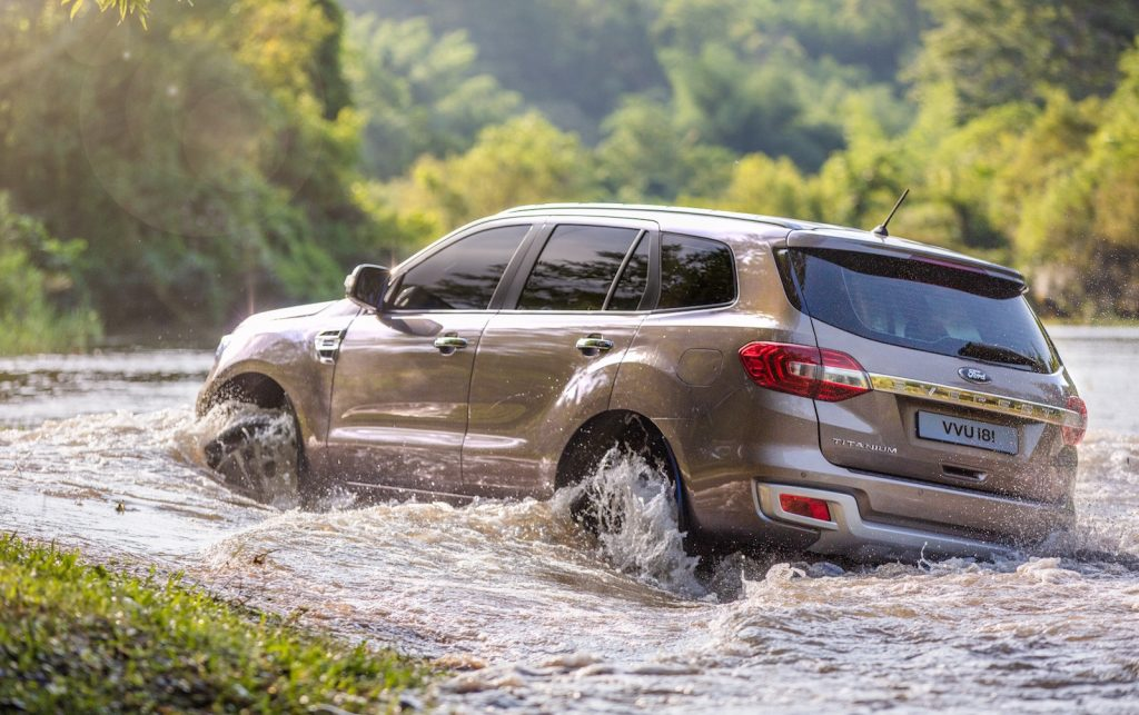 A brown 2019 Ford Everest Titanium waterfording