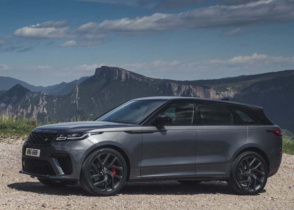 Steel-gray 2019 Land Rover Range Rover Velar SV Autobiography in front of mountain range