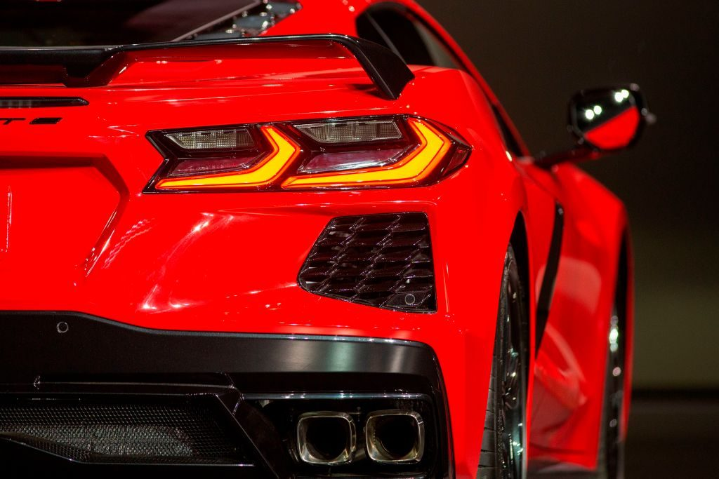 Red C8 Corvette close-up rear shot