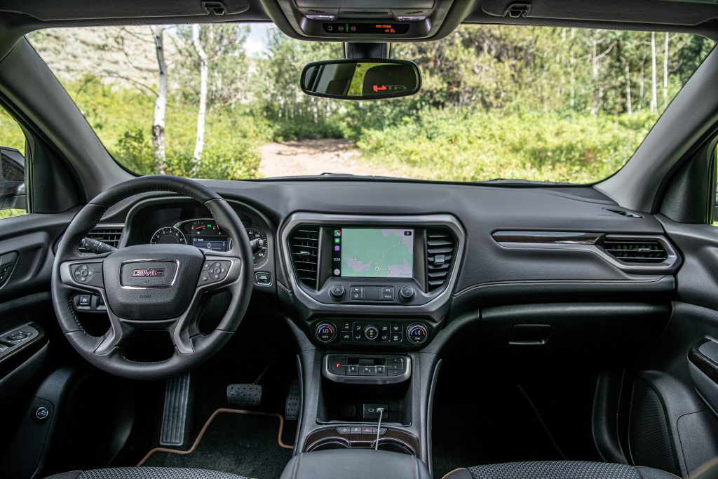 The Acadia has an attractive car cabin with a sharp infotainment display.