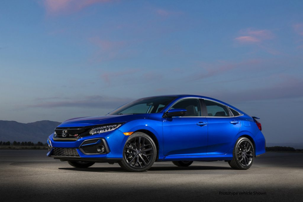 bright blue Honda Civic sedan