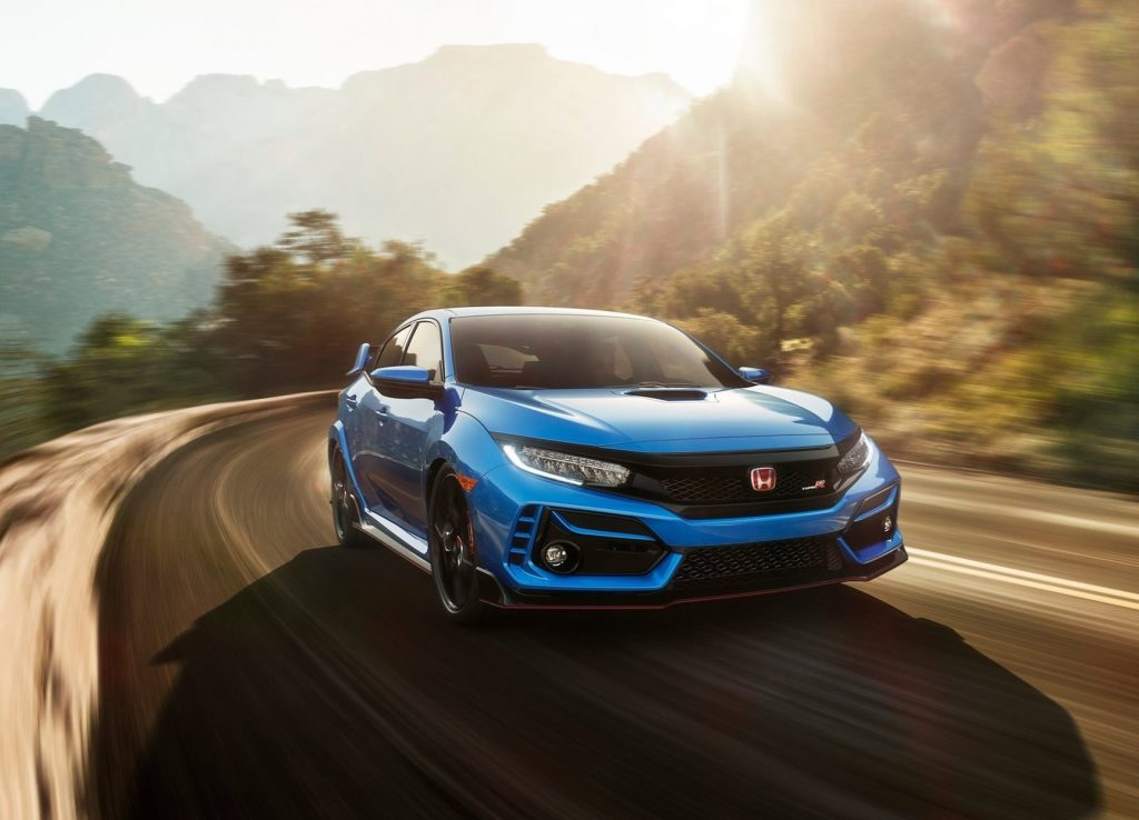Blue 2020 Honda Civic Type R driving around a corner
