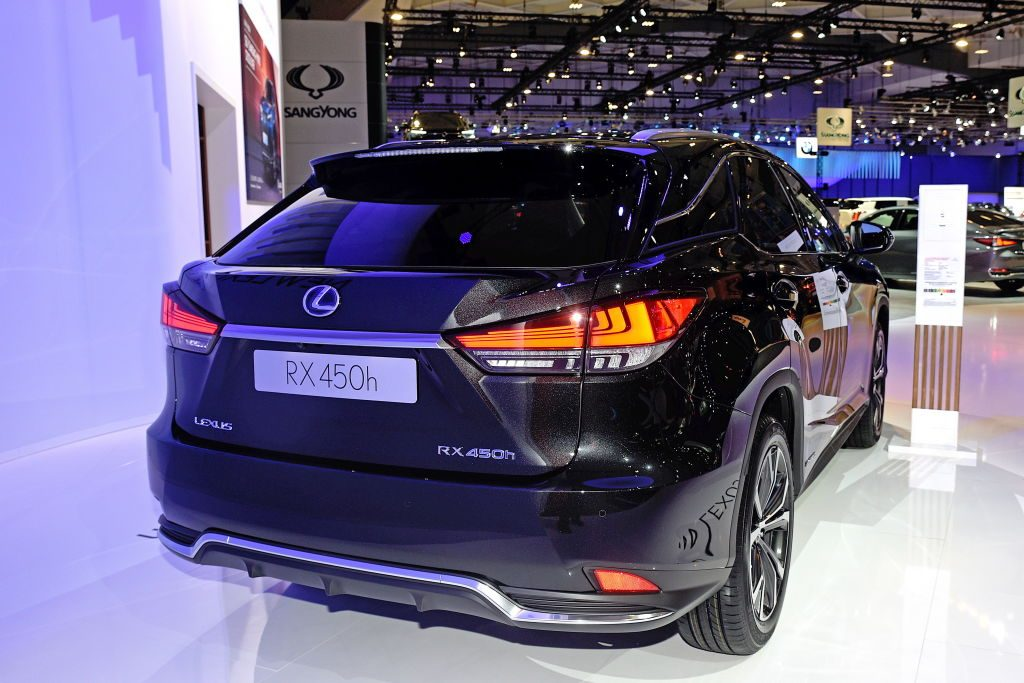 A new Lexus RX on display at an auto show