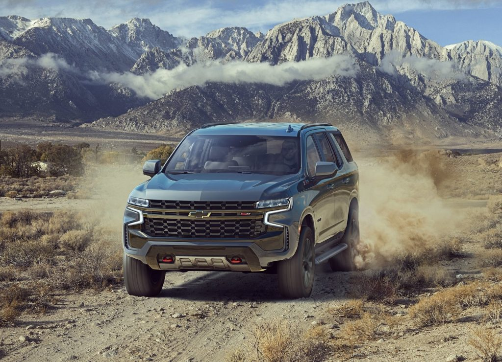 2021 Chevrolet Tahoe Z71 driving down dirty road