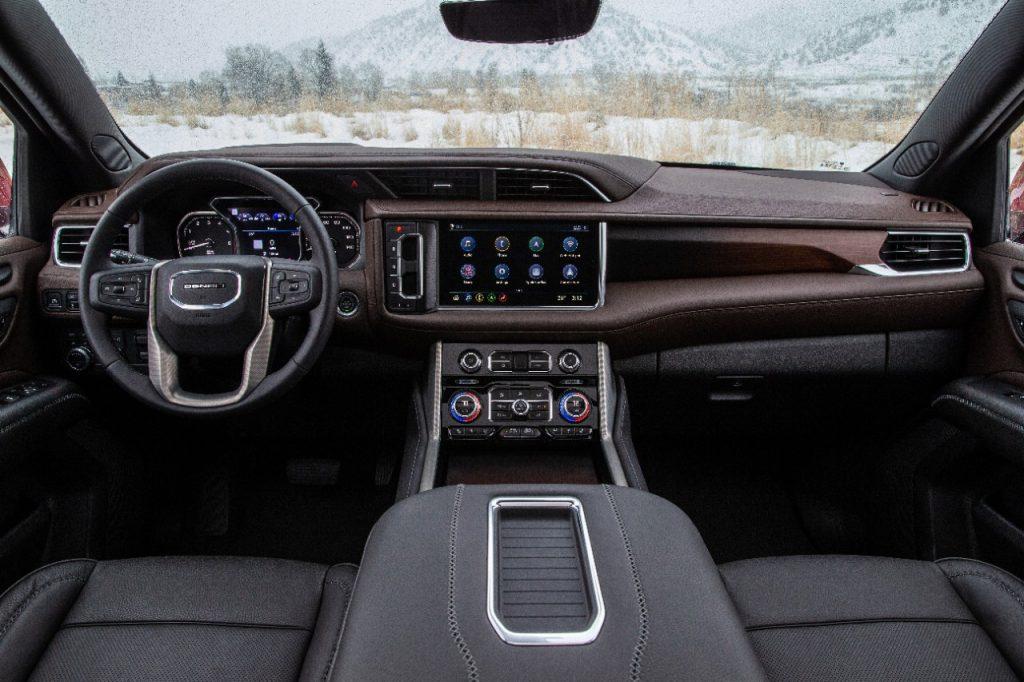 The 2021 Yukon Denali interior has a 10.2-inch center touchscreen.