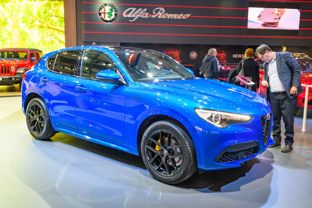 Alfa Romeo Stelvio Veloce front engine, all wheel drive, five door, compact luxury crossover SUV on display at Brussels Expo