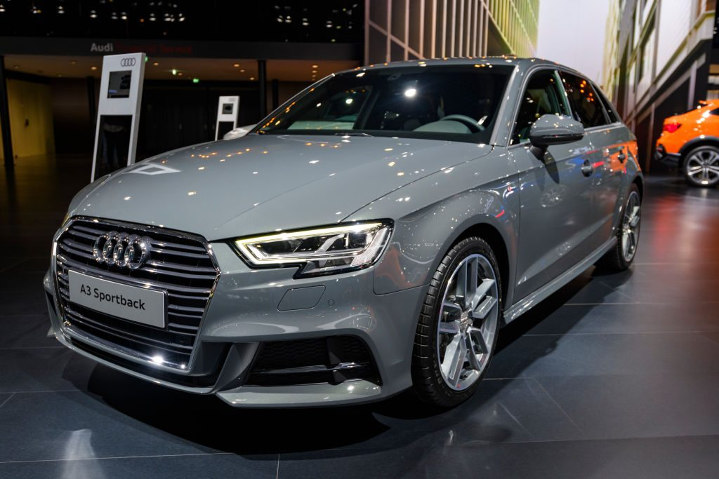 Audi A3 Sportback 40 TFSI e compact 5-door hatchback car on display at Brussels Expo