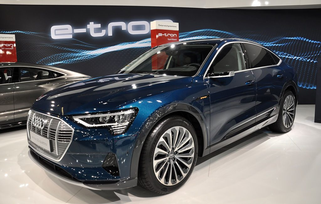 An Audi e-tron S5 Quattro is seen during the Vienna Car Show press preview at Messe Wien, as part of Vienna Holiday Fair