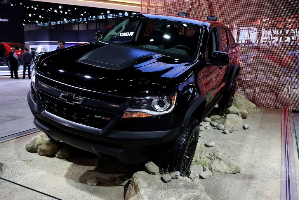 A black Chevrolet Colorado ZR2 on display at an auto show