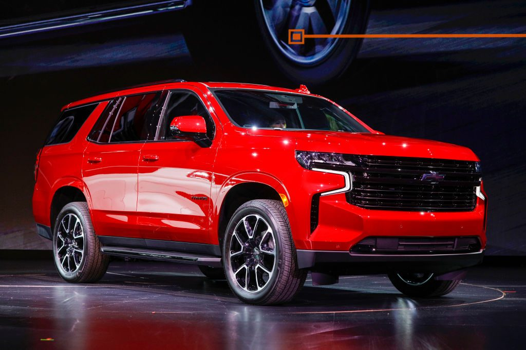 The new 2021 Chevrolet Tahoe is revealed by General Motors at Little Caesars Arena