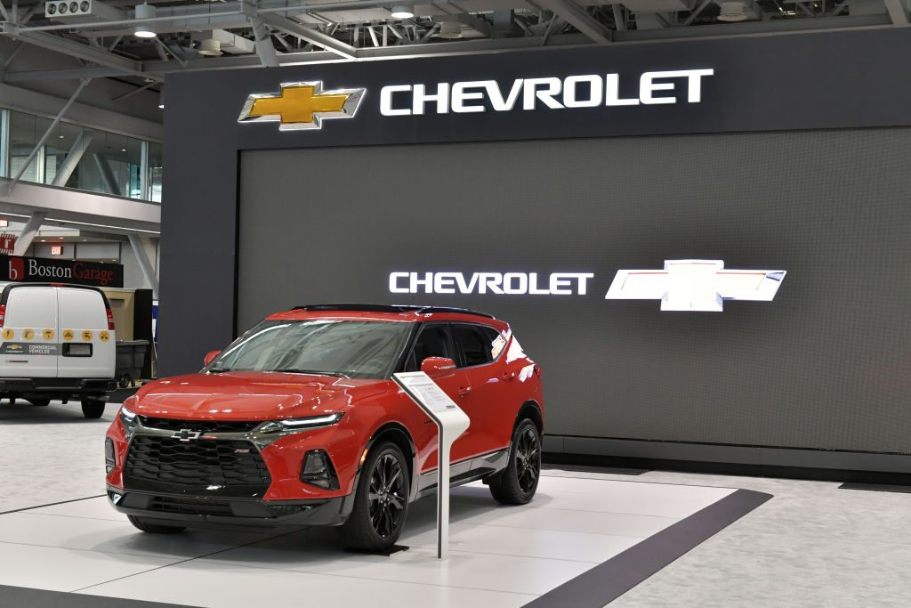 The Chevy exhibit is seen at the 2019 New England International Auto Show Press Preview at Boston Convention & Exhibition Center