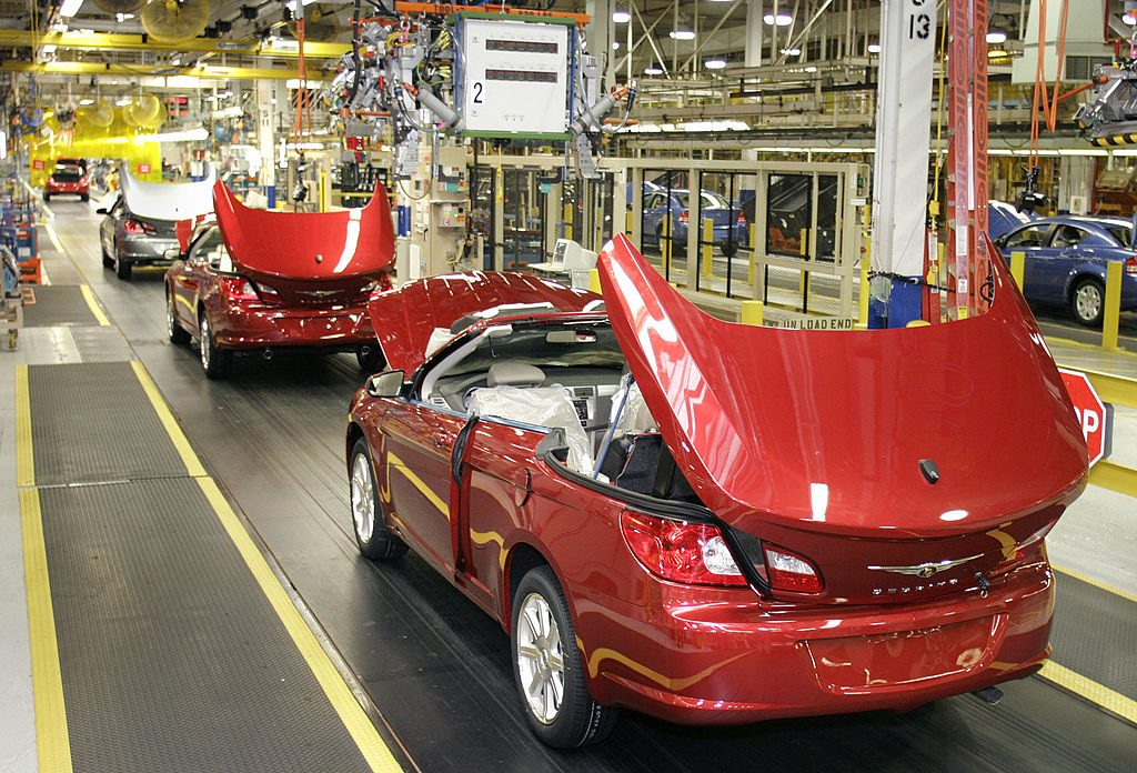 New 2008 Chrysler Sebring Convertibles sit near completion at the Chrysler Group's Sterling Heights Assembly Plant