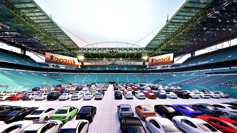 A rendering showing cars parked on the field at the Hard Rock Stadium