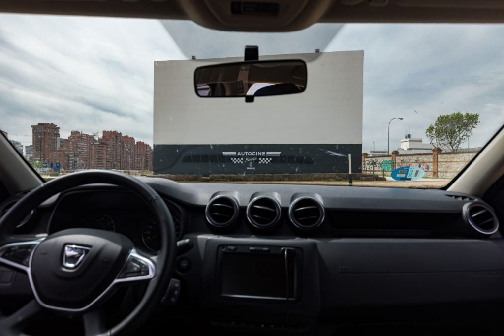 Drive-in Screen Viewed From Within a Car in Spain.